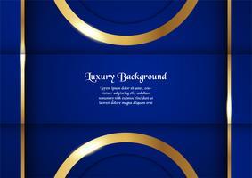 Fondo azul abstracto en concepto superior con la frontera de oro. Diseño de plantillas para portada, presentación de negocios, banner web, invitación de boda y empaques de lujo.