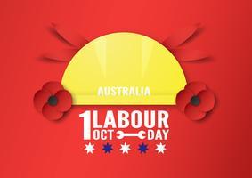 Bannerachtergrond voor Dag van de Arbeid, Austratlia, in 1 oktober. Vectorillustratie in papier knippen en digitale vaartuigen.