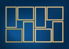 Set av dekorativa ram bild med guldgräns, Vector design på blå bakgrund med kopia utrymme i premium koncept.