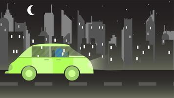 Woman drives a green car in Saudi arabia at night. Vector illustration with urban city, moon and star.