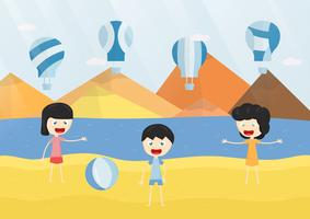 Kids smile and play the blue balloon on the beach. Vector illustration design with sea, sky, cloud, and mountain.