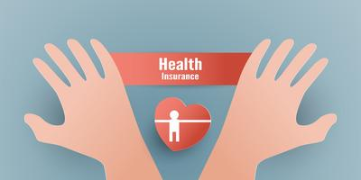 Vector illustration in concept of health insurance. Template design is on pastel blue background in 3D paper cut style.