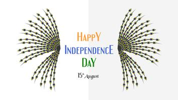 Happy Independence day of India country and Indian people with texture of peacock. Vector illustration design isolated on white background.