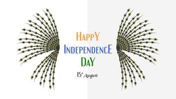 Glücklicher Unabhängigkeitstag des Indien-Landes und der Inder mit Beschaffenheit des Pfaus. Vektorillustrationsdesign lokalisiert auf weißem Hintergrund.