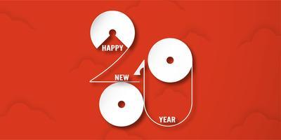 Gott nytt år 2019 med skymning av moln på röd bakgrund. Vektor illustration med kalligrafi design av nummer i pappersskärning och digitala hantverk.