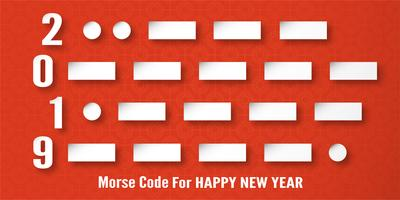 Happy New Year 2019 decoration on red background. Vector illustration with calligraphy design of Morse code number in paper cut and digital craft.