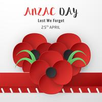 Happy Anzac Day den 25 april för vem som tjänstgjorde och dog i Australien och Nya Zeeland krig. Mallelementdesign för banner, affisch, hälsning, inbjudan. Vektor illustration i pappersklipp, hantverk stil.