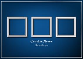 White picture frame on blue gradient background.