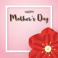 Template design for happy mother's day. Vector illustration in paper cut and craft style. Decoration background with flowers for invitation, cover, banner, advertisement.