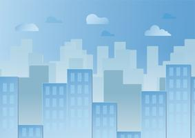 Ciel bleu avec des nuages et des bâtiments urbains. Conception d'illustration vectorielle en papier découpé et à plat.