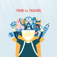 Poster design for travelling of the world isolated on blue background. Vector illustration for T-shirt, cover, banner, advertisement in flat style.
