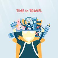 Affischdesign för att resa i världen isolerad på blå bakgrund. Vektor illustration för T-shirt, omslag, banner, annons i platt stil.