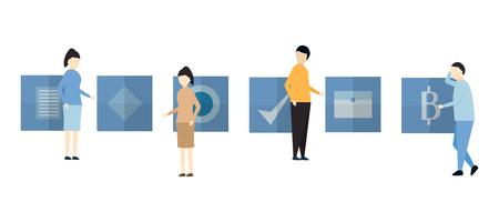 Character design in scene of teamwork business include man and woman. vector