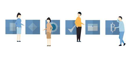 O projeto de caráter na cena do negócio do trabalho em equipe inclui o homem e a mulher.