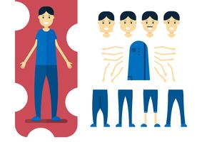 Character design element of man with body parts. Vector illustration in flat style.
