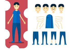 Karakterontwerpelement van de mens met lichaamsdelen. Vectorillustratie in vlakke stijl.