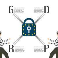 Diseño de personajes con concepto GDPR aislado sobre fondo blanco. Ilustración del vector con el espacio del texto.