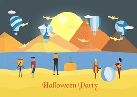 Minimal scene for halloween day and balloon festival, 31 October, with monsters that include glass, pumpkin man, frankenstein, umbrella, joker. Vector illustration.