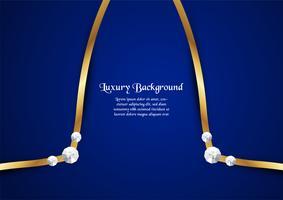 Abstrakt blå bakgrund i premiumkoncept med guldgräns. Malldesign för omslag, företagspresentation, webbbanner, bröllopsinbjudan och lyxförpackning.