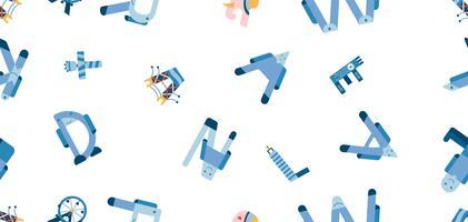 Marcos famosos do mundo em design pattern. Ilustração vetorial no design plano isolado no fundo branco para viajar dos EUA, Tailândia, Singapura e Inglaterra.