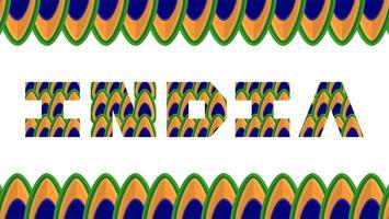 Feliz día de la independencia de la India país y los indios con. Ilustración vectorial con los colores del pavo real.