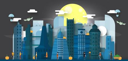 Minimal scene of future city for halloween day, 31 October, with monsters that include dracula, glass, pumpkin man, frankenstein, umbrella, joker, witch woman, cat. Vector illustration.
