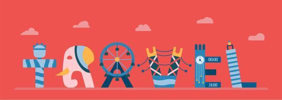 Världens kända landmärken i engelska alfabetet. Vektor illustration i platt design isolerad på röd bakgrund för resor i USA, Thailand, Singapore och England.