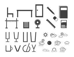Olika typer av elektroniska utrustningar, moln, hushållsutrustning med skärmdisplay som telefon, dator, tv, glas, bord, fläkt, stol, bok, penna, penna, gummi, dörr och korg.