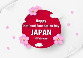 Glad National Foundation Day 2019 för japanska. Malldesign i flatlay-stil. Vektorillustration med pappersskärning och hantverkskoncept.