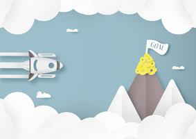 Vector illustration with start up concept in paper cut, craft and origami style. Rocket on the sky.