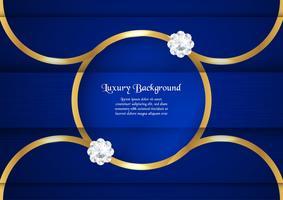 Abstracte blauwe achtergrond in premium Indiase stijl. Sjabloonontwerp voor dekking, zakelijke presentatie, webbanner, bruiloft uitnodiging en luxe verpakking. Vectorillustratie met gouden rand. vector