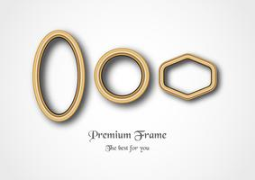Set of golden frame on white background. vector