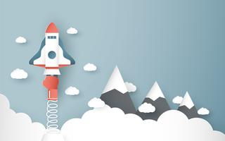 Vector illustration with start up concept in paper cut, craft and origami style. Rocket is flying on blue sky. Template design for web banner, poster, cover, advertisement. 3D art craft for kids.