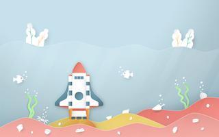 L'illustrazione di vettore con inizia sul concetto nello stile del taglio, del mestiere e di origami della carta. Il razzo sta volando su cielo blu. Disegno del modello per banner web, poster, copertina, pubblicità. Artigianato 3D per bambini.