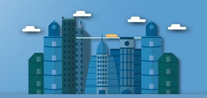 Pop-up ontwerp van stedelijke gebouwen en toekomstige stad met blauwe lucht en wolken. Vectorillustratie met vlakke stad in papierstijl knippen. Trend van mijlpaal voor het centrum van de wereld en het grote land.
