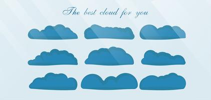 Set of the best cloud isolated on blue background with text space and light.