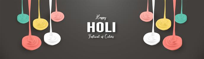 Happy Holi, Festival of Colors. Template element design for template, banner, poster, greeting card. Vector illustration in paper cut, craft, origami type with flat lay style.