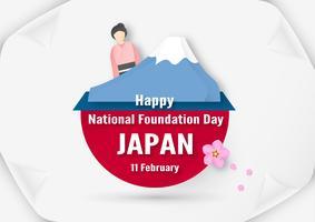 Feliz Dia da Fundação Nacional de 2019 para o japonês. Modelo de design no estilo flatlay. Illlustration do vetor com conceito do corte e do ofício do papel.