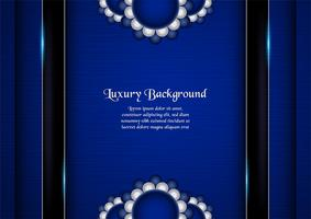 Abstract blue background in premium indian style. Template design for cover, business presentation, web banner, wedding invitation and luxury packaging. Vector illustration with golden border.