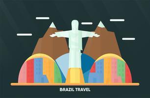 Thailand, Udonthani - 7. August 2018: Brasilien-Markstein mit Rio de Janeiro-Monument, bunter Stadt, Himmel, Wolke und Berg. Vektorabbildung für das Reisen.