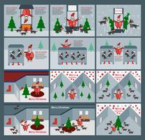 Ställ av scen för god jul med jultomten, renar och träd.