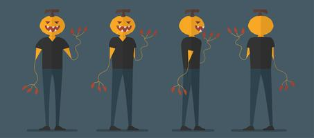 Character design of pumpkin man for Halloween day, 31 October, Vector illustration isolated on dark blue background.