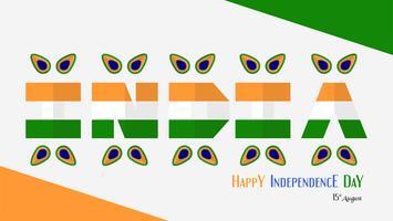 Felice giorno dell'indipendenza dell'India paese e popolo indiano con elemento di pavone. Disegno di illustrazione vettoriale isolato su sfondo bianco.