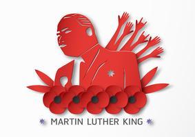 Thaïlande, Udonthani - 16 janvier 2019: Joyeuse Journée Martin Luther King Jr. avec du papier découpé et un style artisanal. Illustration vectorielle pour le fond, bannière, affiche, publicité, carte d'invitation et modèle.