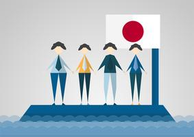 Vector illustration in concept of flood at Japan country. Pray for Japanese at Takatsuki city.