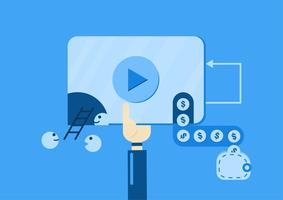 Video marketing for making of money from video on website. Vector illustration isolated on blue background for web banner, infographics, and advertisement.