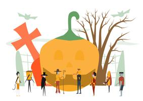Minimal scene for halloween day, 31 October, with monsters that include dracula, glass, pumpkin man, frankenstein, umbrella, cat, joker, witch woman. Vector illustration isolated on white background.
