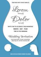 Hochzeitseinladung ist weiche blaue und weiße Farbe. Vektorillustration in der Ebene und in der Papierschnittart. vektor