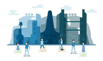 Future people in urban buildings with blue sky and cloud. Vector illustration with flat city in paper cut style. Trend of landmark for downtown of the world and big country.