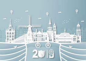 03 de abril de 2019: top famoso marco e construção do país holandês para viagens e turismo. Projeto da ilustração do vetor no estilo do corte e do ofício do papel no fundo azul.